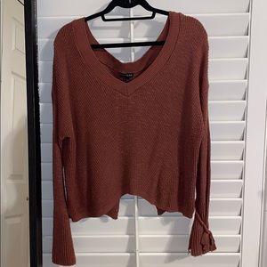 Express Pink/Orange Sweater w/ Tie Sleeves Size L